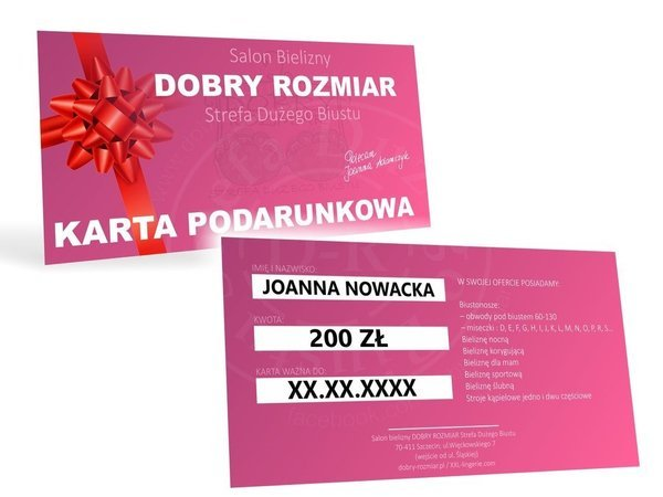 KARTA PODARUNKOWA o wartości 200 zł do salonu DOBRY ROZMIAR Strefa Dużego Biustu.